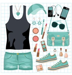 Youth fashionable set vector image vector image