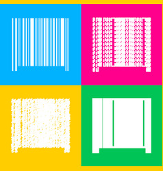 bar code sign four styles of icon on four color vector image
