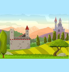 castles on hills medieval landscape vector image