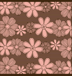 color pattern of rows flowers with stripes vector image vector image