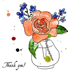 rose and forget-me-flower vector image