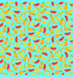 seamless pattern with pineapples bananas and vector image vector image
