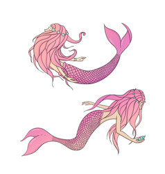 set of pink mermaids mythical sea creatures vector image