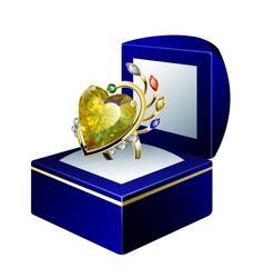 Stunning ring with heart shape diamond and gems in vector image