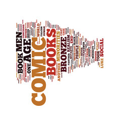 The bronze age of comic books text background vector