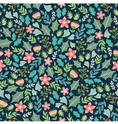 wintery floral pattern vector image vector image