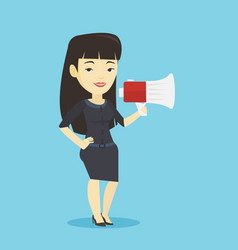 business woman speaking into megaphone vector image vector image