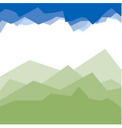 green mountains in the fog vector image vector image