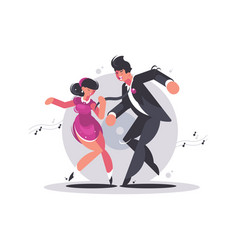 happy couple of guy and girl dancing vector image vector image