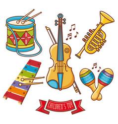 musical instruments childrens toys set violin drum vector image vector image