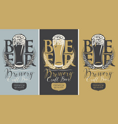 set of banners with full beer glass and wheat ears vector image vector image