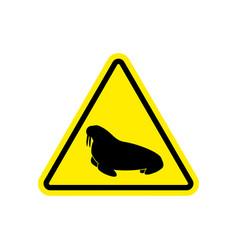 walrus warning sign yellow seal hazard attention vector image vector image