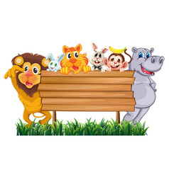wooden sign with many animals vector image vector image