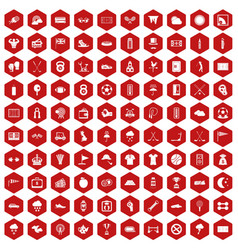 100 golf icons hexagon red vector image