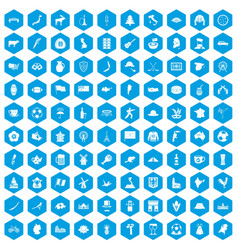 100 map icons set blue vector