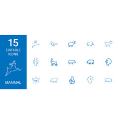 15 mammal icons vector