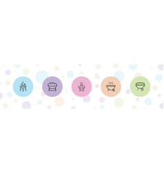 5 bbq icons vector