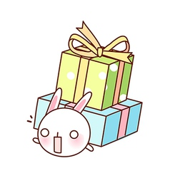 A rabbit under two boxes vector image