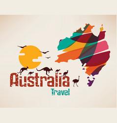 Australia travel map decrative symbol vector
