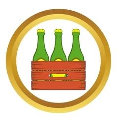 Beer wooden box icon cartoon style vector