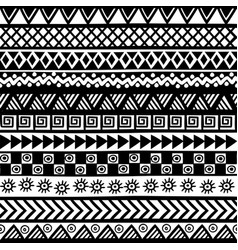 black and white geometrical tribal motifs vector image