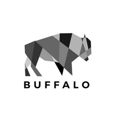 buffalo bison geometric polygonal logo icon vector image