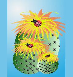 Cactus desert plant prickly plant thorny spiny vector