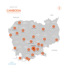 Cambodia map with administrative divisions vector