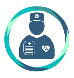 Cardiologist icon with heart diagram and clipboard vector