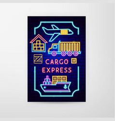 Cargo express neon flyer vector