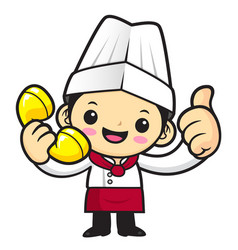 cartoon cook character thumbed up a gesture and vector image