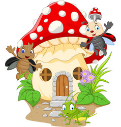 Cartoon funny insects with mushroom house vector