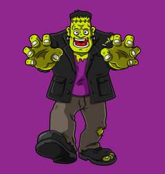 Cartoon happy frankenstein monster vector