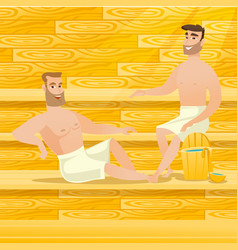 caucasian men relaxing in sauna vector image