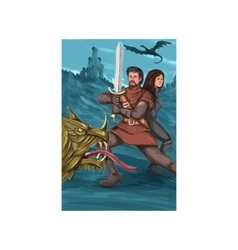 Cavalier and princess fighting dragon watercolor vector