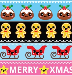 Christmas cute Kawaii seamless pattern vector