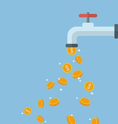 Coins fall out of the water tap vector