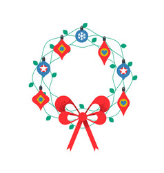 colorful isolated christmas wreath ornament vector image