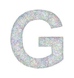 Colorful sketch font design - letter G vector image