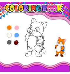 Coloring book fox go to school vector