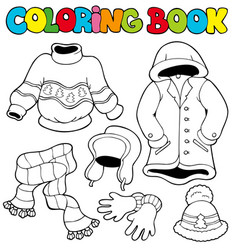coloring book with winter clothes vector image