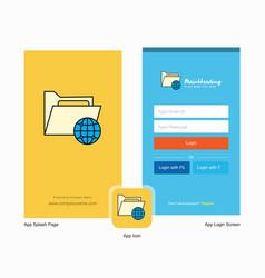 Company shared folder splash screen and login vector