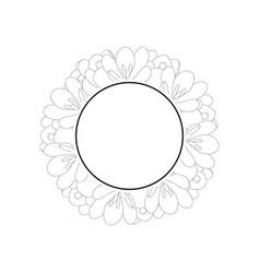 Crocus flower outline banner wreath vector