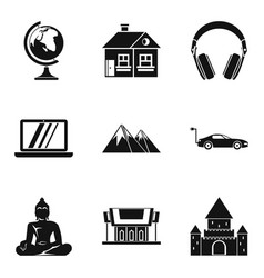 Culture nation icons set simple style vector