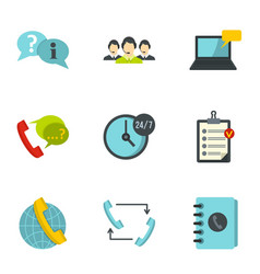 Customer service icons set flat style vector