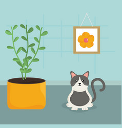 cute little cat mascot in the house vector image