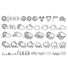 Cute weather icons set vector