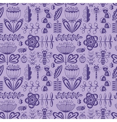 Decorative seamless pattern with flowers and bugs vector