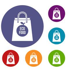 Eco food bag icons set vector