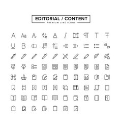 Editorial content line icon set vector